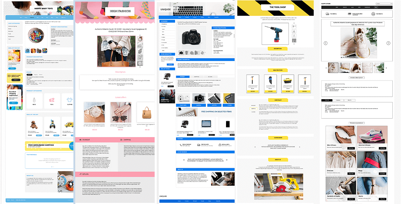5 listing designer eBay template examples