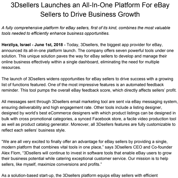 The 3Dsellers Launches an All-In-One Platform For eBay Sellers to Drive Business Growth