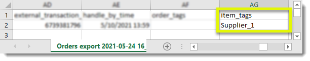 CSV example for eBay orders management