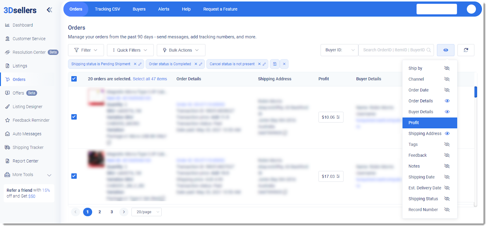 3Dsellers orders manager tool dashboard
