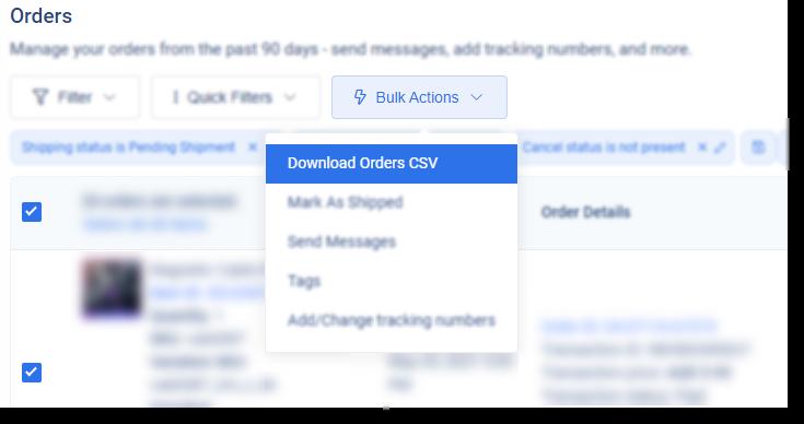 bulk action to download eBay orders via csv