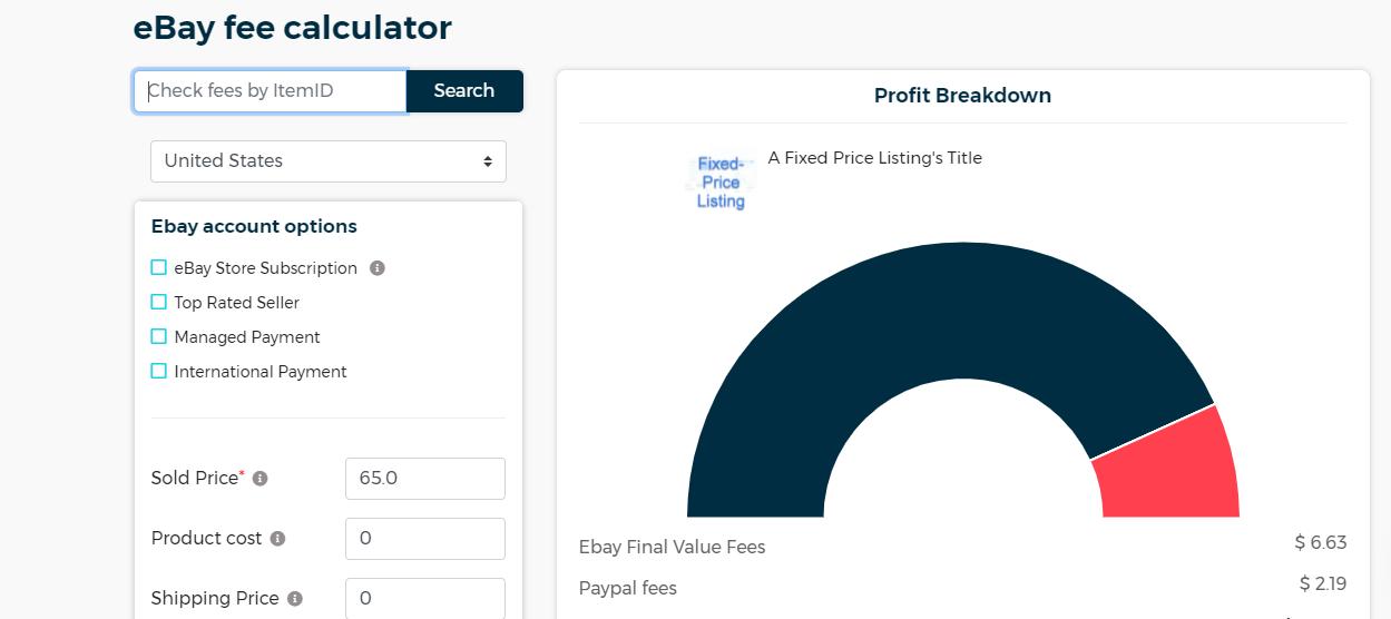 Screenshot of zik analytics ebay fee calculator