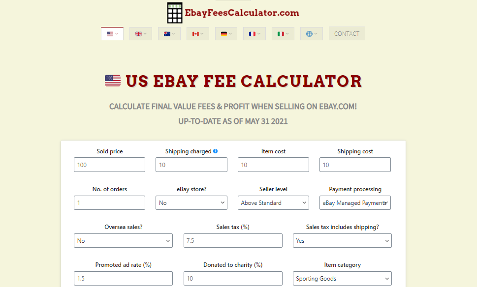 ebayfeescalculator.com screenshot
