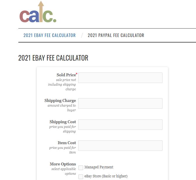 Screenshot of final fee calculator for eBay
