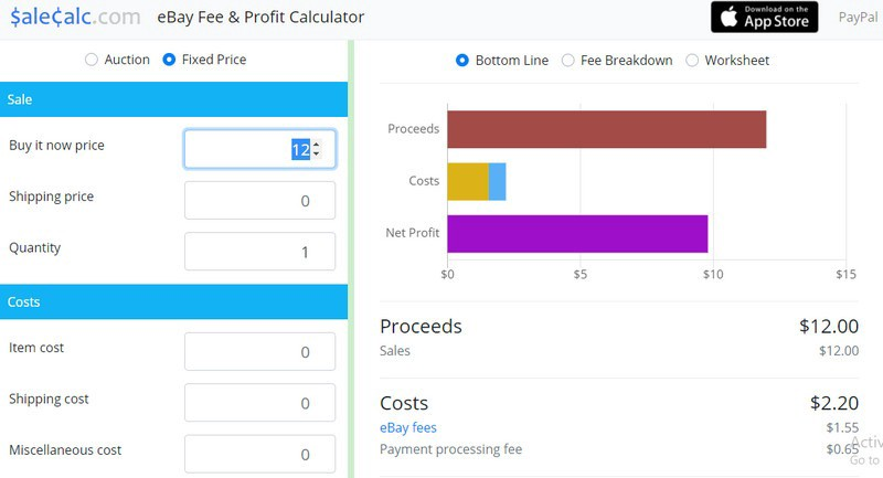 sale calc eBay fees calculator screenshot