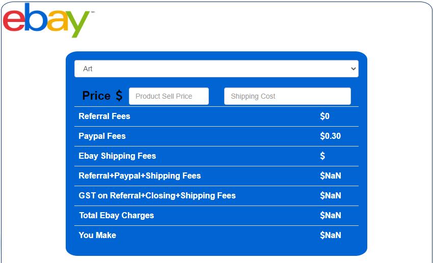 Digi Commerce eBay Fees calculator and screenshot