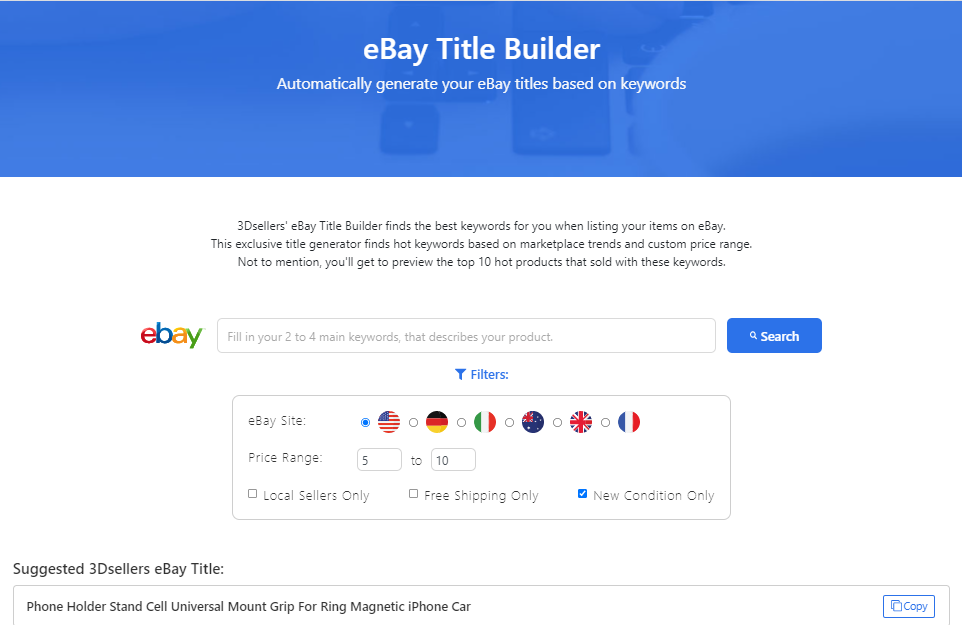 free ebay title builder from 3Dsellers