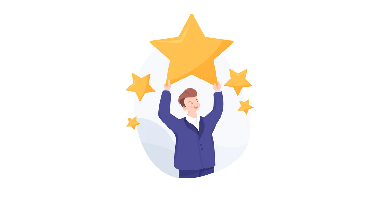 graphic of man getting first eBay star level