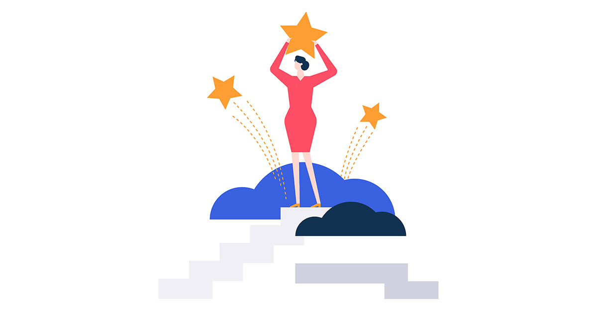 graphic of woman holding eBay shooting star