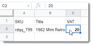 CSV file showing VAT tax percent and field for eBay Listings Import with 3Dsellers eBay Listings Manager