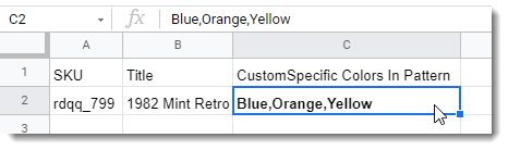 CSV file showing multiple eBay item specifics for importing eBay listings