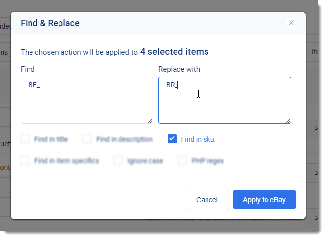 3Dsellers Find and Replace eBay SKUs feature settings