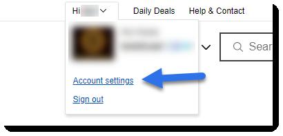 screenshot of ebay header name menu account settings link