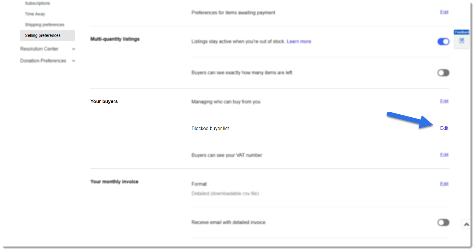 screenshot of eBay selling preferences settings at your buyers with arrow pointing to edit