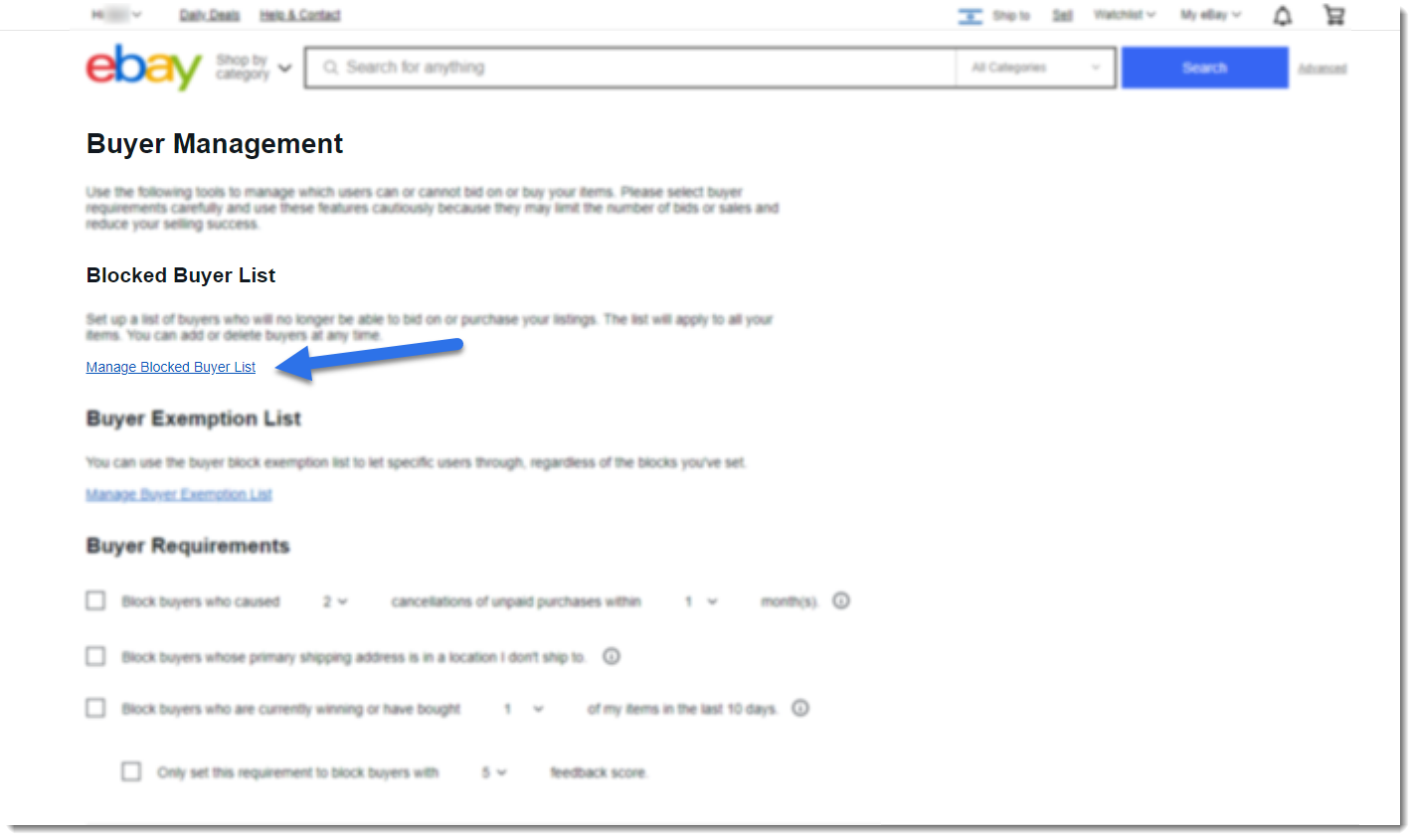 screenshot of eBay buyer management page with arrow pointing to Manage Blocked Buyers List link