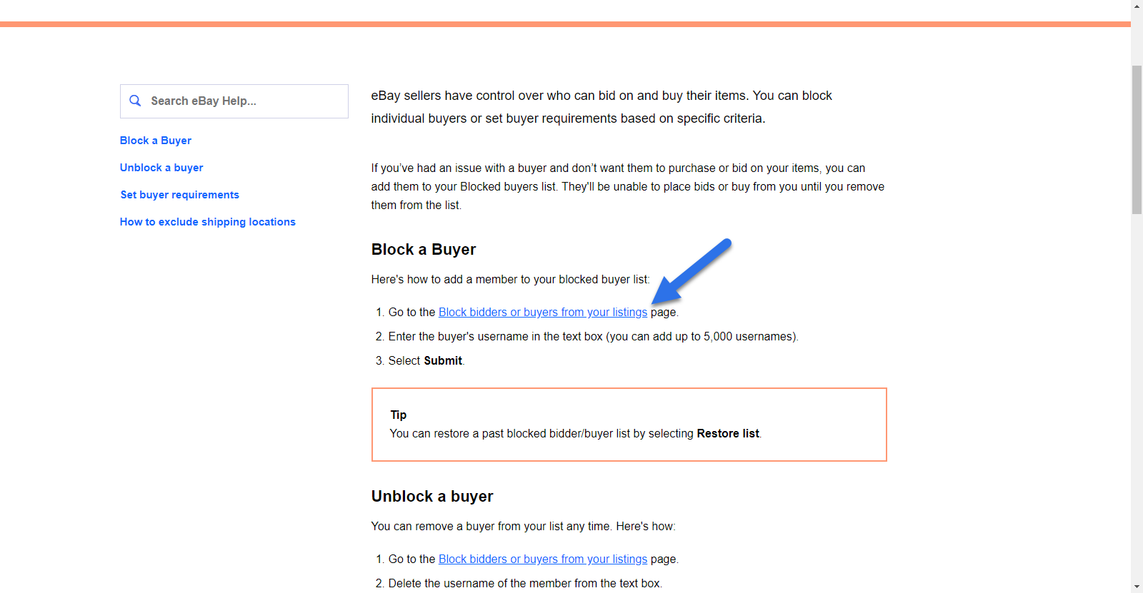 """screenshot of eBay help page with arrow pointing to """"block bidders or buyers from your listings"""" link"""