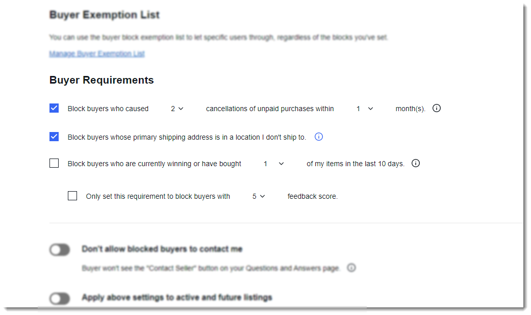 screenshot of ebay buyer requirements settings
