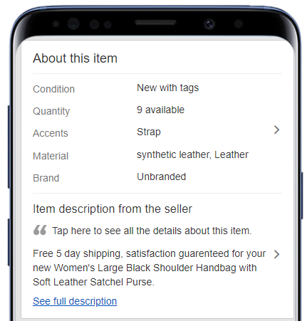 Smartphone with eBay mobile description template preview example