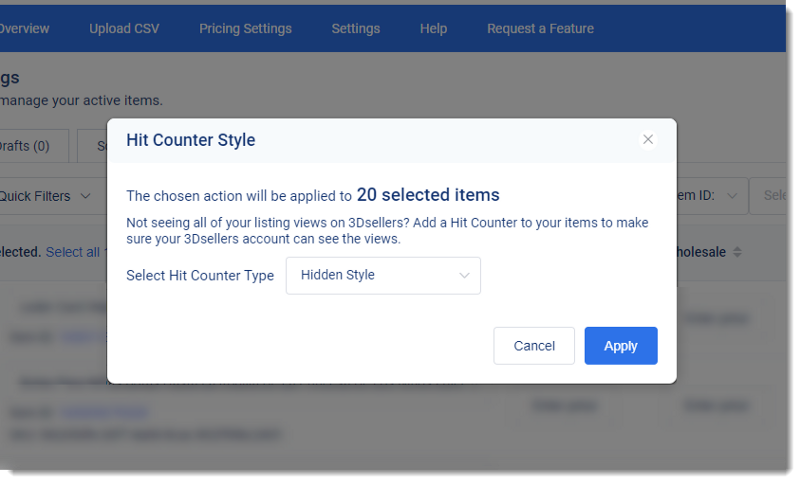 """Screenshot of 3Dsellers eBay listing software """"add hit counter� feature window to apply """"hit counter� to eBay listings"""