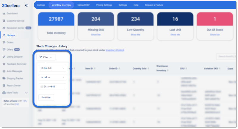 Screenshot of 3Dsellers eBay listing software Inventory Overview page with Filters highlighted