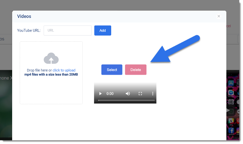 """Screenshot of 3Dsellers eBay Listing Designer video window with arrow pointing to a """"delete� button"""