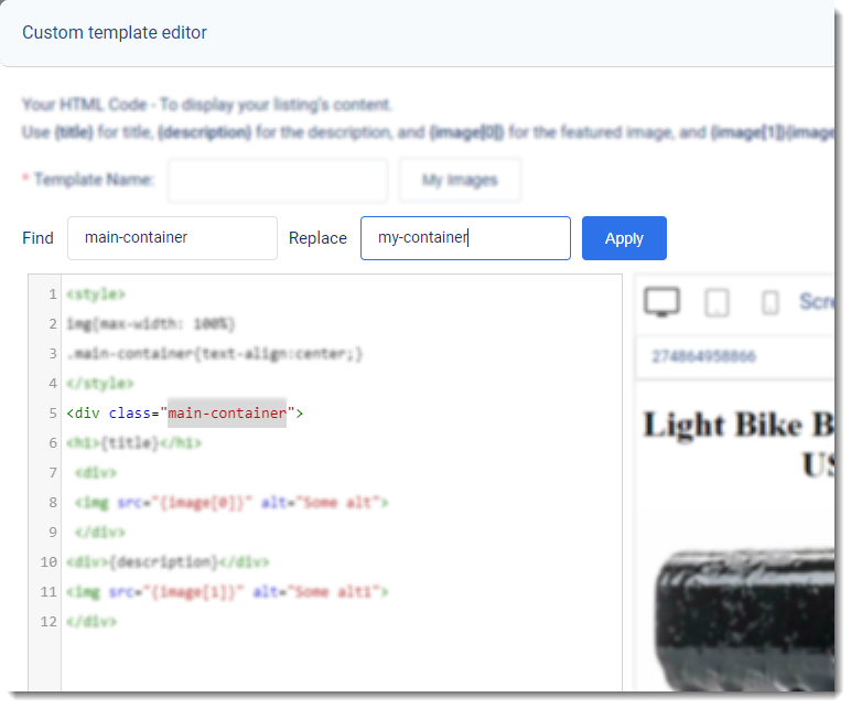 Screenshot of 3Dsellers eBay Listing Designer's Custom HTML Editor highlighting the Find and Replace feature