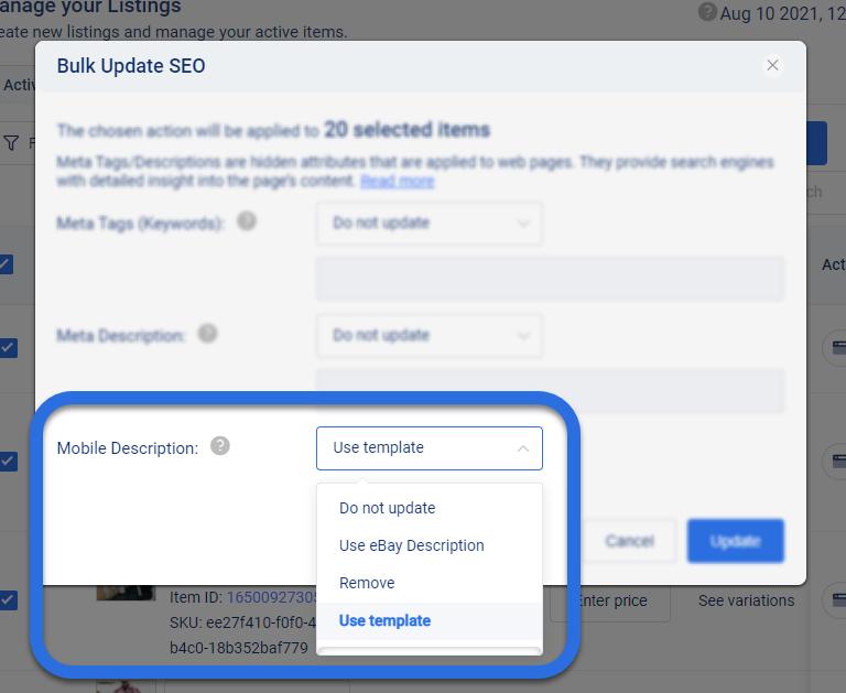 Screenshot of 3Dsellers eBay listing software apply eBay Mobile Description Template window