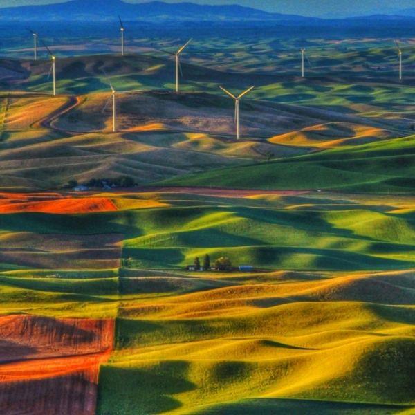 Farm land with wind turbines.