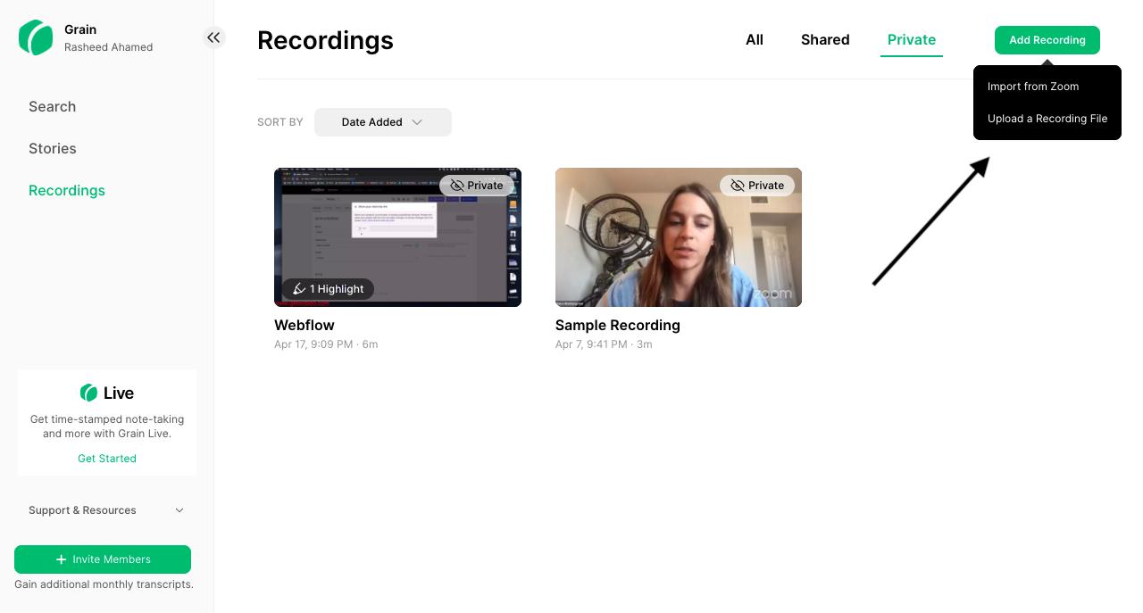 Upload Zoom recording