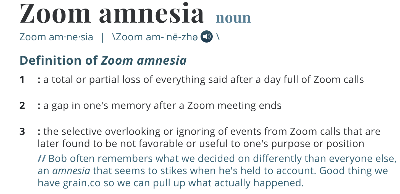 Zoom Amnesia