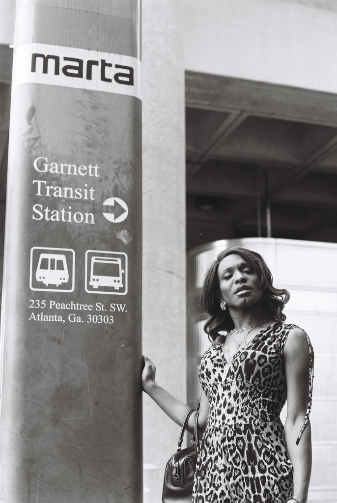 Transgender woman at the Marta station in Atlanta, GA posing with confidence