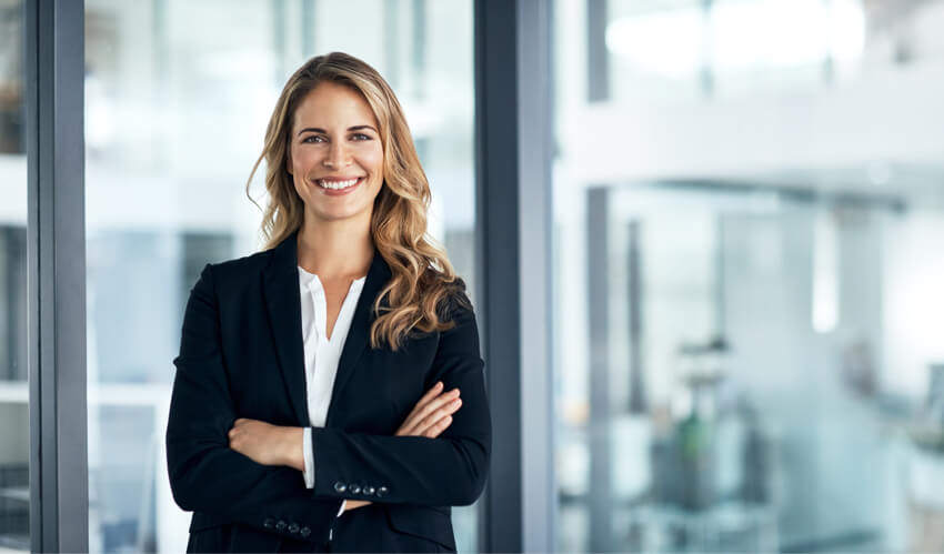 Confident woman successful managing risks