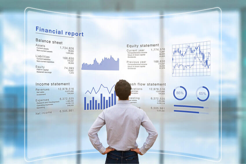 Man looking at statements cash flow
