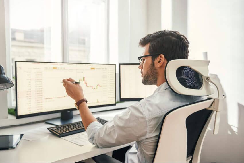 Handsome man working on finance for organization