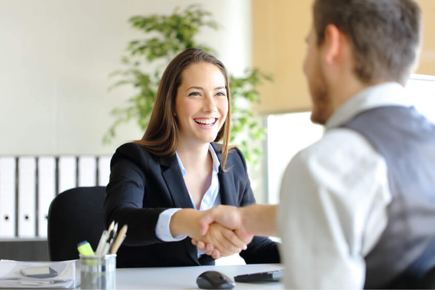 Young lady hiring new employee