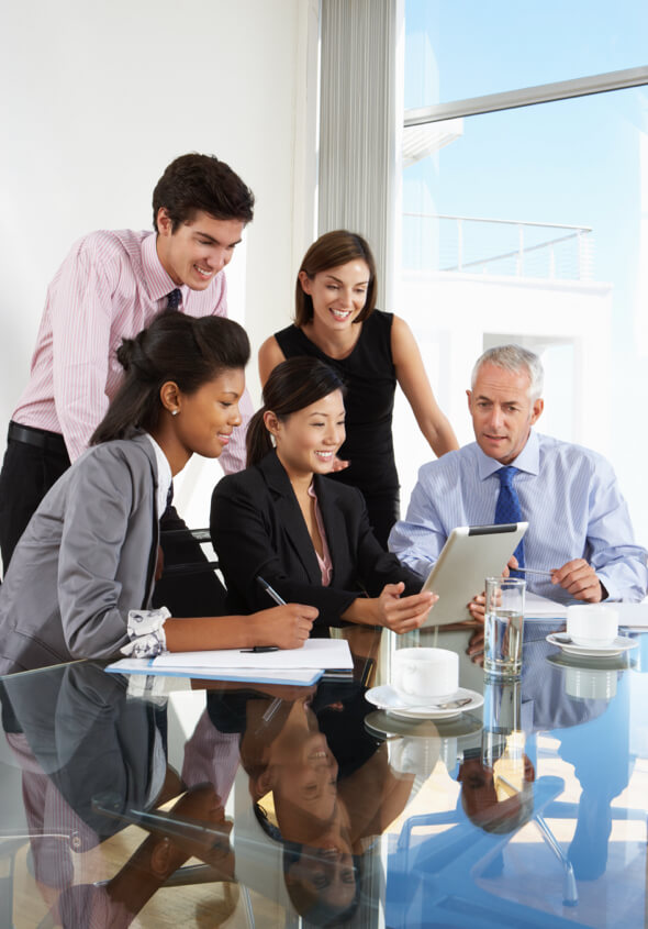 business team working on office with tablet