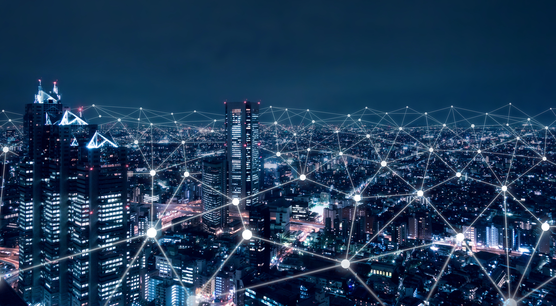 Abstract view of data and a city