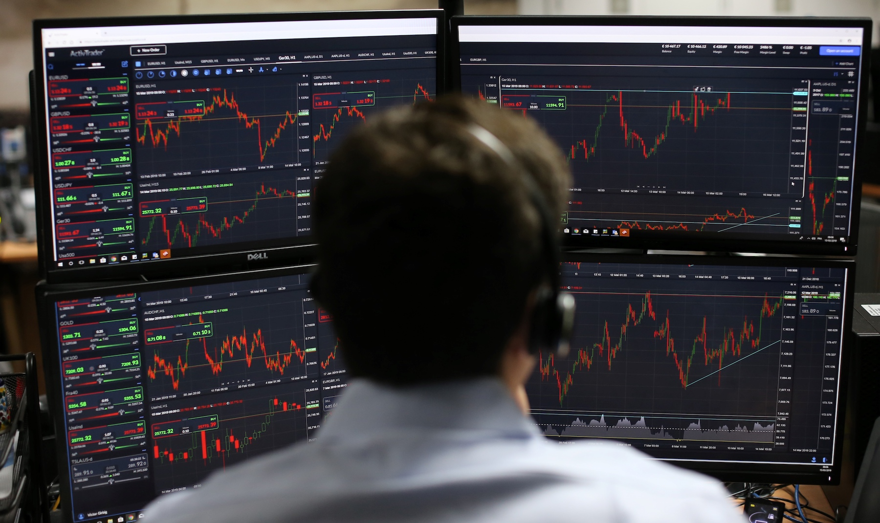 Employees monitor financial data on their computer screens as they work the brokerage in London in 2019