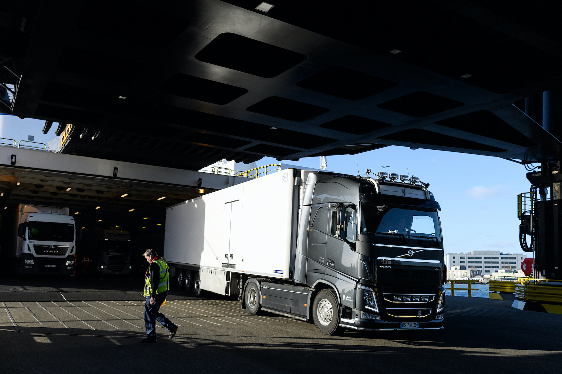 A truck leaves a ferry in Portsmouth, United Kingdom, on Jan. 8, 2019