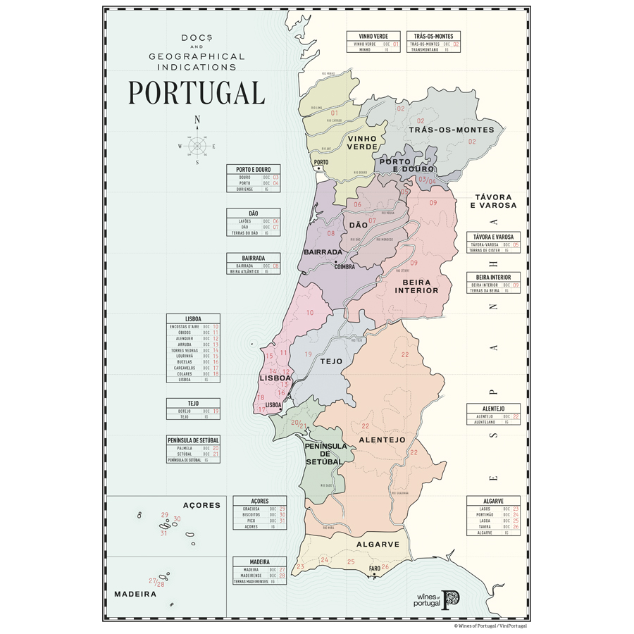 A map of the wine regions of Portugal, including the Northern Vinho Verde wine region.