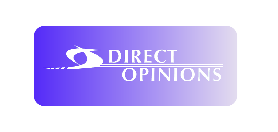 Purple image with Direct Opinions logo in white