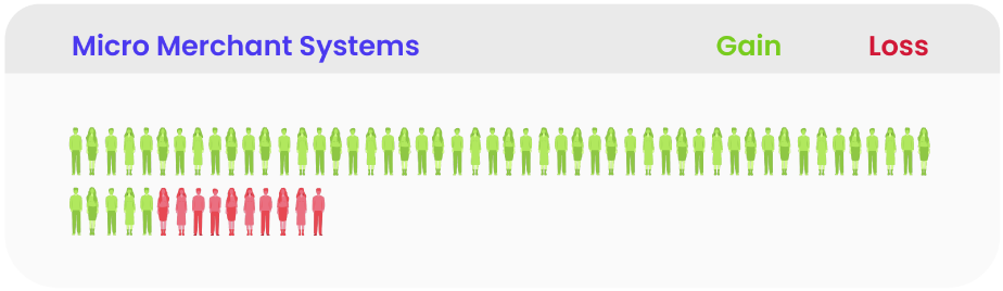 Illustration of number of people who convert to Micro Merchant Systems