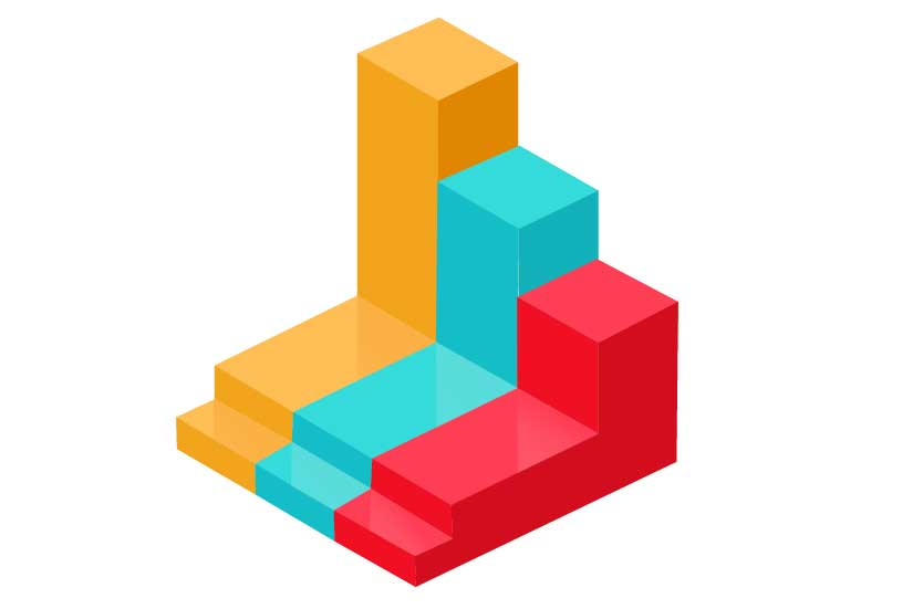 This is an illustration of a 3D bar graph