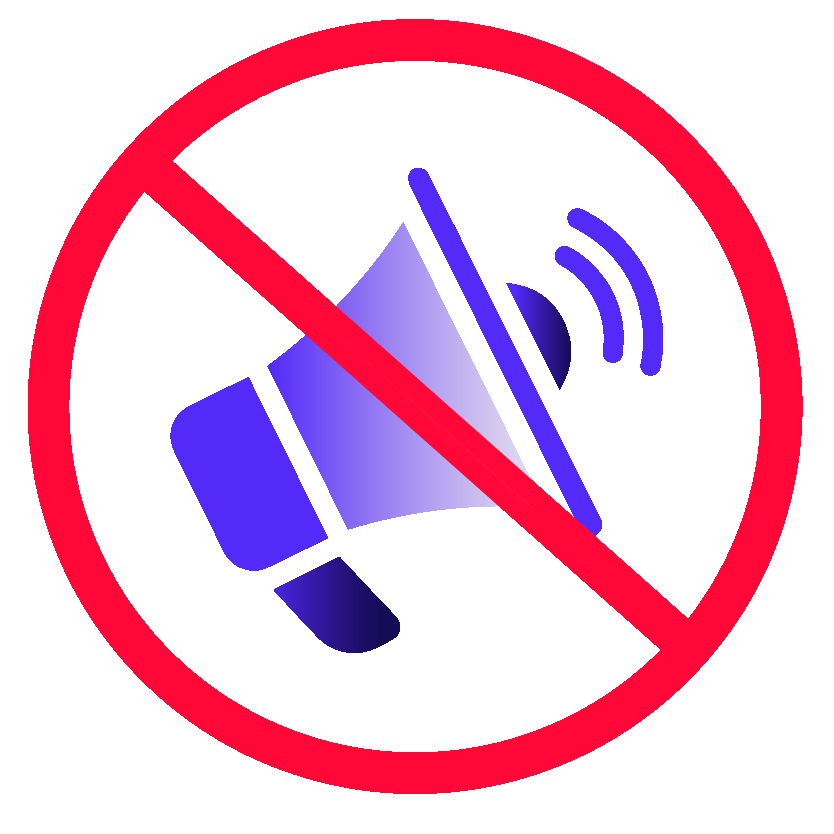 Illustration of a bullhorn enclosed in a red circle