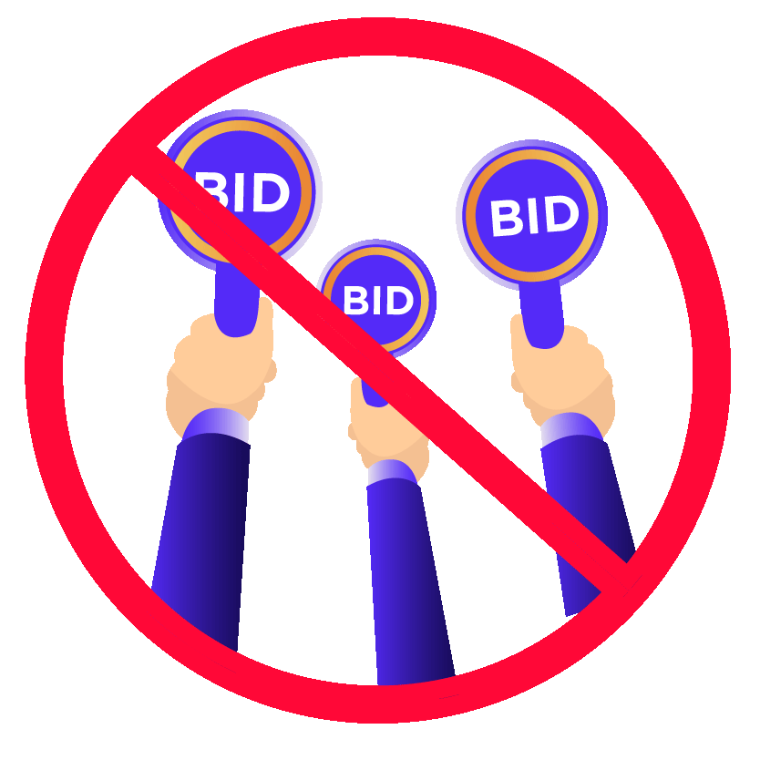 Illustration of competitive bidding enclosed in a circle