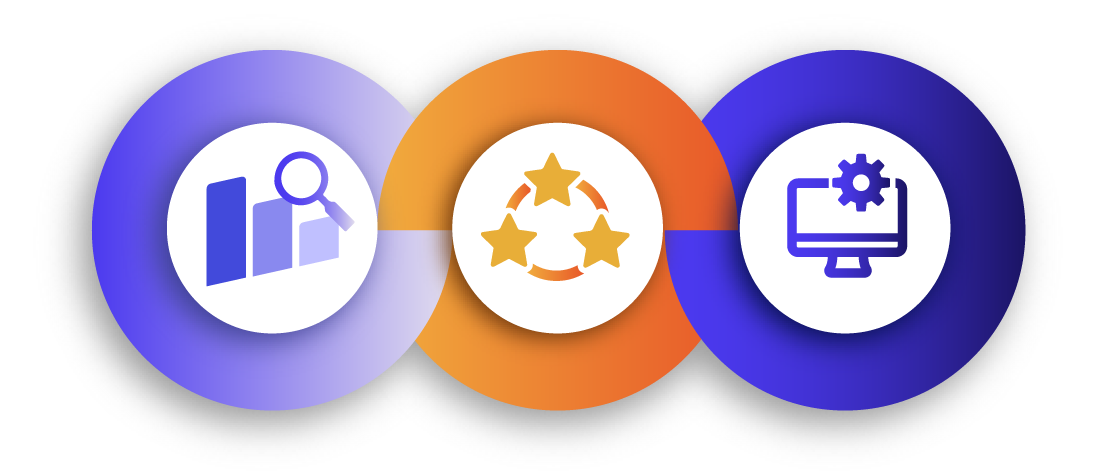 Illustration of three icons enclosed by circles