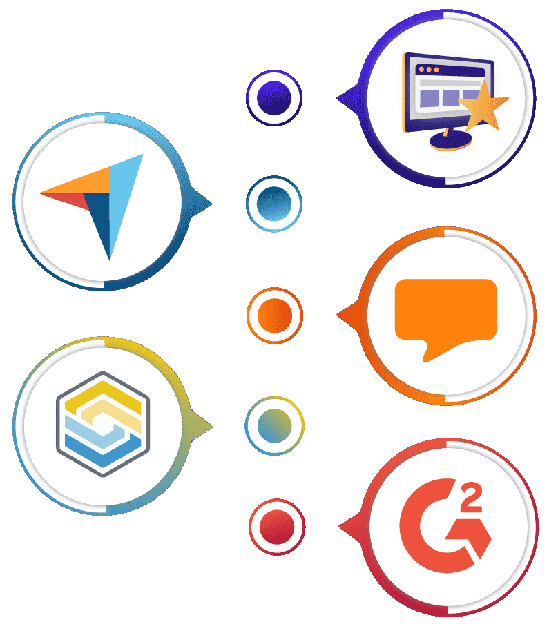 Illustration of five review sites logos