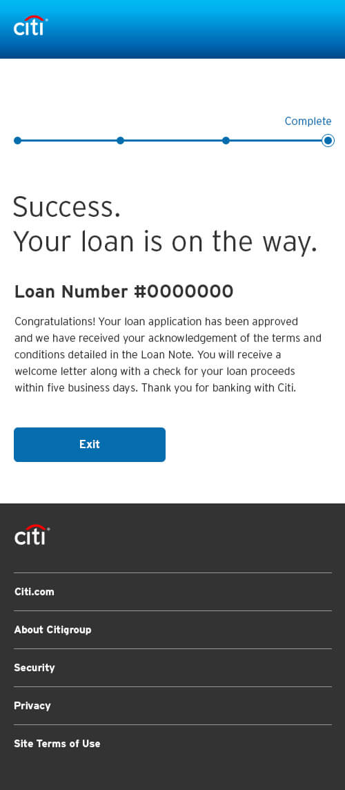 Confirmation Page Interface for Citi Bank