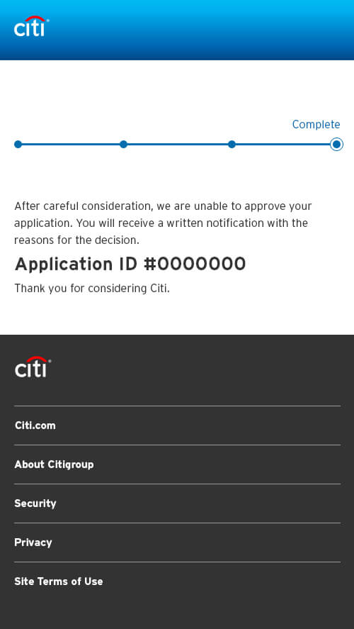 If Denied Interface for Citi Bank