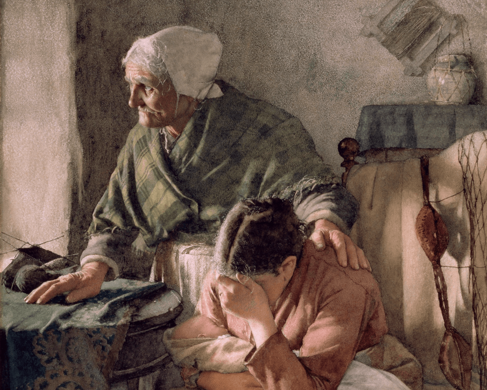 Painting of older lady comforting younger lady